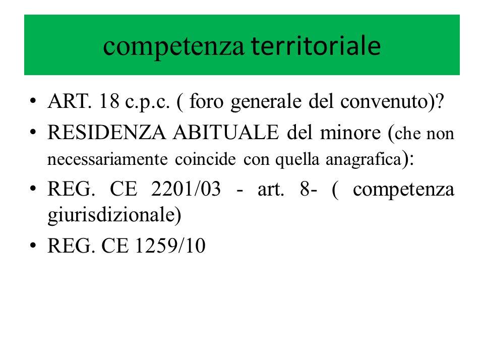 competenza territoriale ART. 18 c.p.c. ( foro generale del convenuto)? RESIDENZA ABITUALE del minore ( che non necessariamente coincide con quella ana