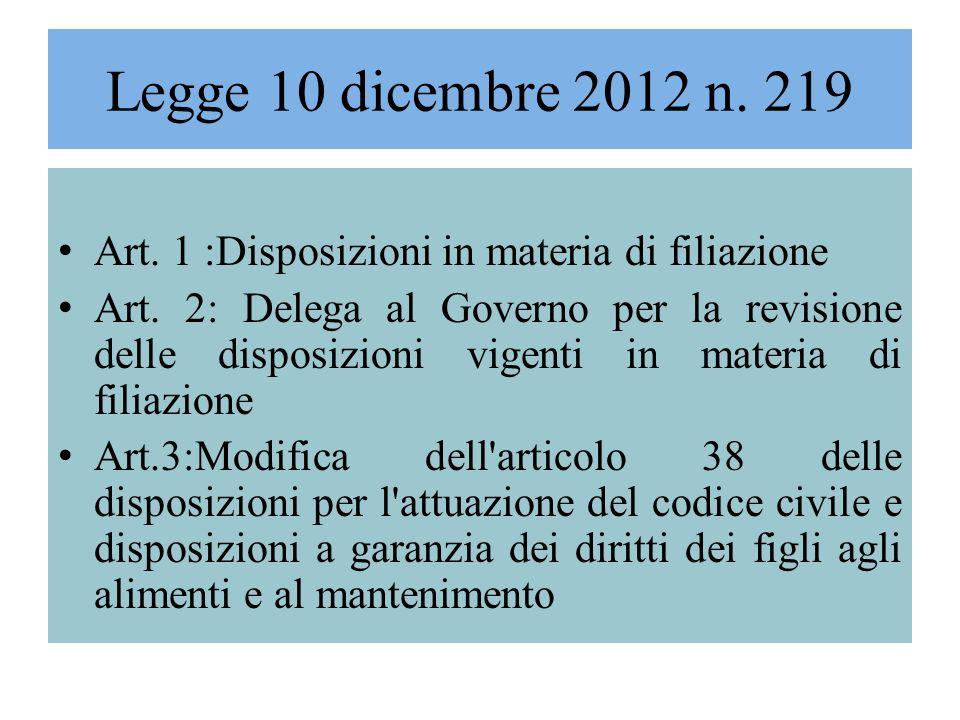 Legge 10 dicembre 2012 n. 219 Art. 1 :Disposizioni in materia di filiazione Art. 2: Delega al Governo per la revisione delle disposizioni vigenti in m