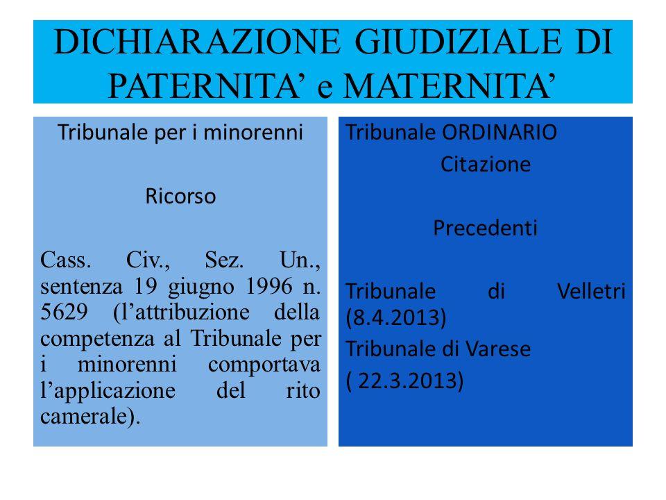 DICHIARAZIONE GIUDIZIALE DI PATERNITA e MATERNITA Tribunale per i minorenni Ricorso Cass. Civ., Sez. Un., sentenza 19 giugno 1996 n. 5629 (lattribuzio