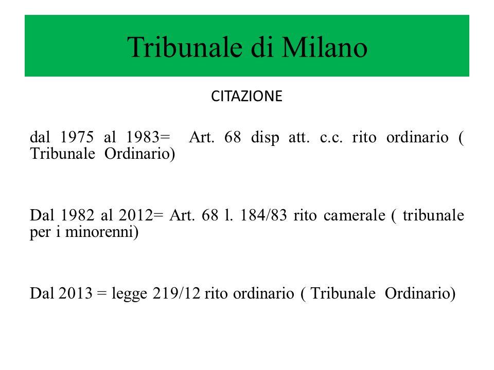 Tribunale di Milano CITAZIONE dal 1975 al 1983= Art. 68 disp att. c.c. rito ordinario ( Tribunale Ordinario) Dal 1982 al 2012= Art. 68 l. 184/83 rito
