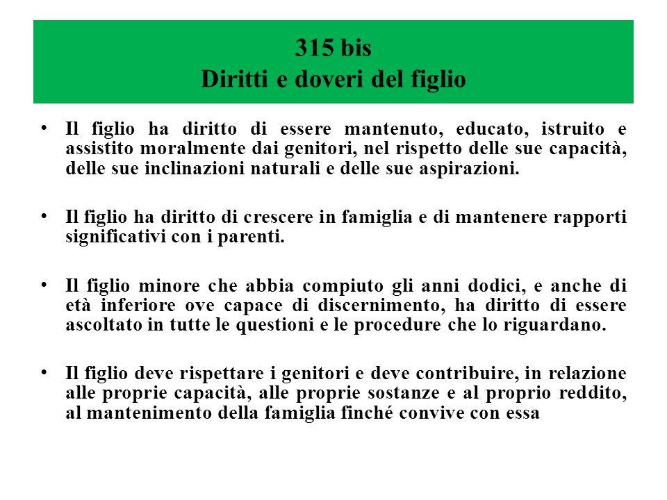 315 bis Diritti e doveri del figlio Il figlio ha diritto di essere mantenuto, educato, istruito e assistito moralmente dai genitori, nel rispetto delle sue capacità, delle sue inclinazioni naturali e delle sue aspirazioni.