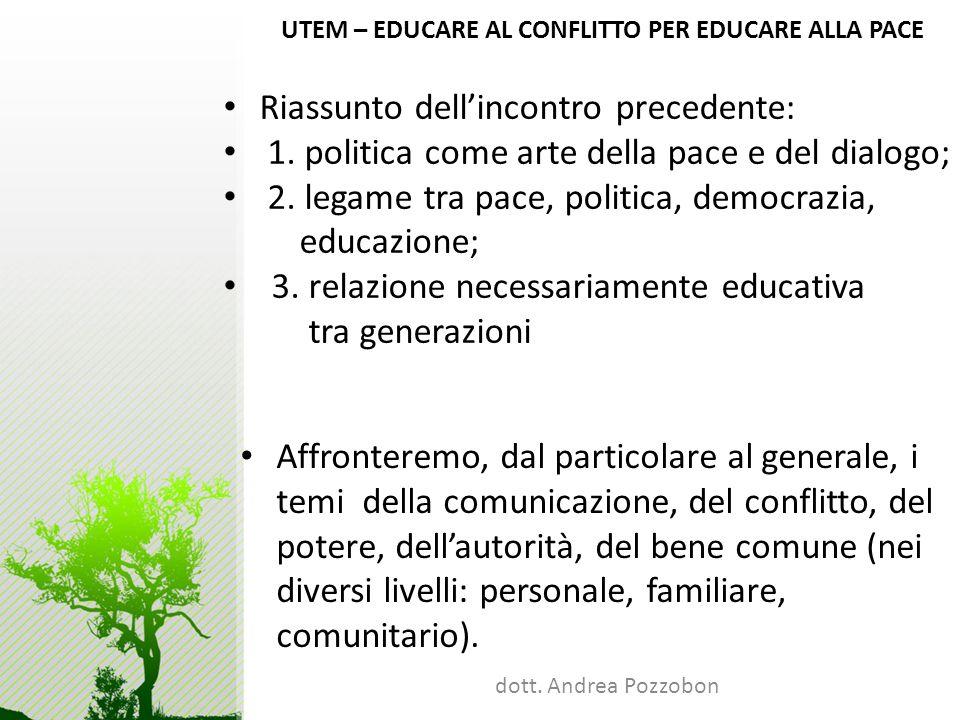 UTEM – EDUCARE AL CONFLITTO PER EDUCARE ALLA PACE dott. Andrea Pozzobon UTEM – EDUCARE AL CONFLITTO PER EDUCARE ALLA PACE Riassunto dellincontro prece