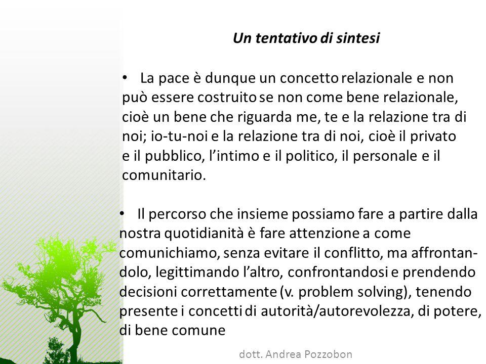 dott. Andrea Pozzobon Un tentativo di sintesi La pace è dunque un concetto relazionale e non può essere costruito se non come bene relazionale, cioè u