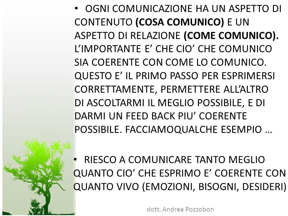 dott. Andrea Pozzobon OGNI COMUNICAZIONE HA UN ASPETTO DI CONTENUTO (COSA COMUNICO) E UN ASPETTO DI RELAZIONE (COME COMUNICO). LIMPORTANTE E CHE CIO C