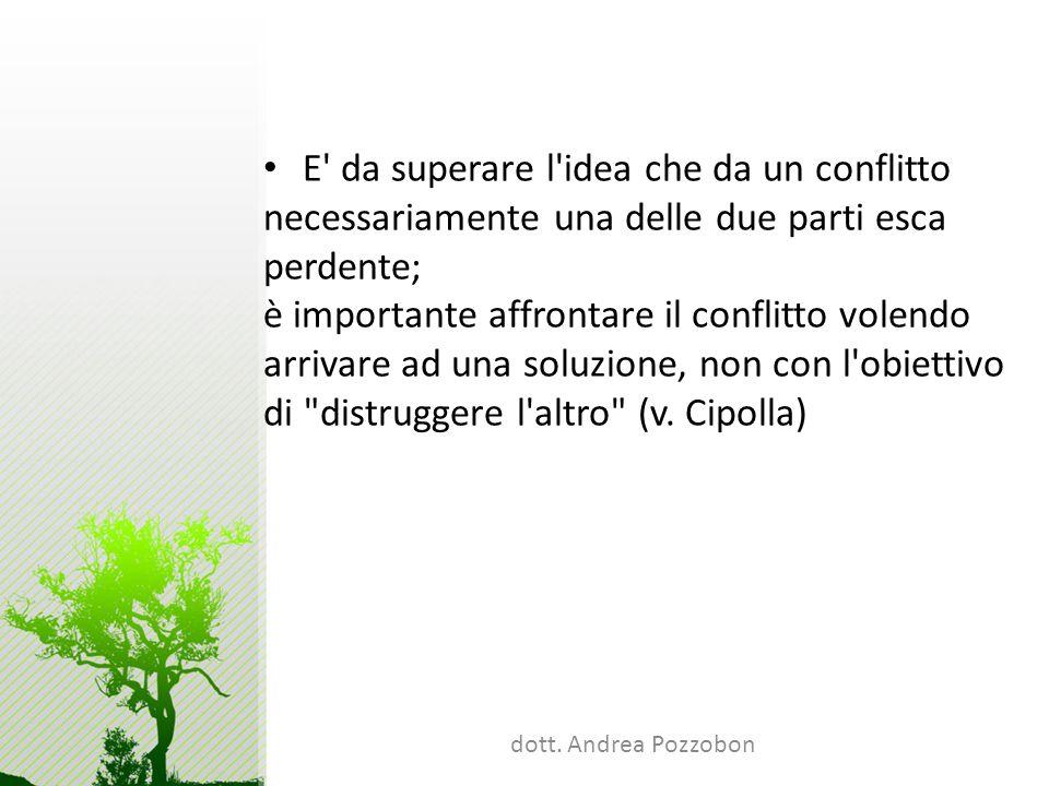 dott. Andrea Pozzobon E' da superare l'idea che da un conflitto necessariamente una delle due parti esca perdente; è importante affrontare il conflitt
