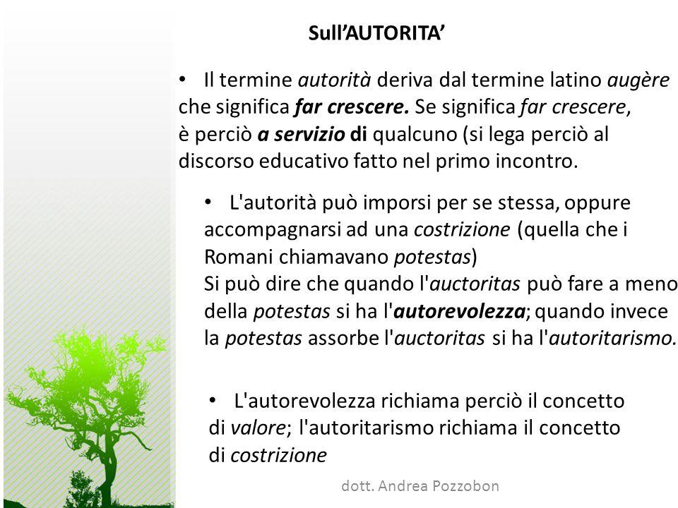 dott. Andrea Pozzobon SullAUTORITA Il termine autorità deriva dal termine latino augère che significa far crescere. Se significa far crescere, è perci