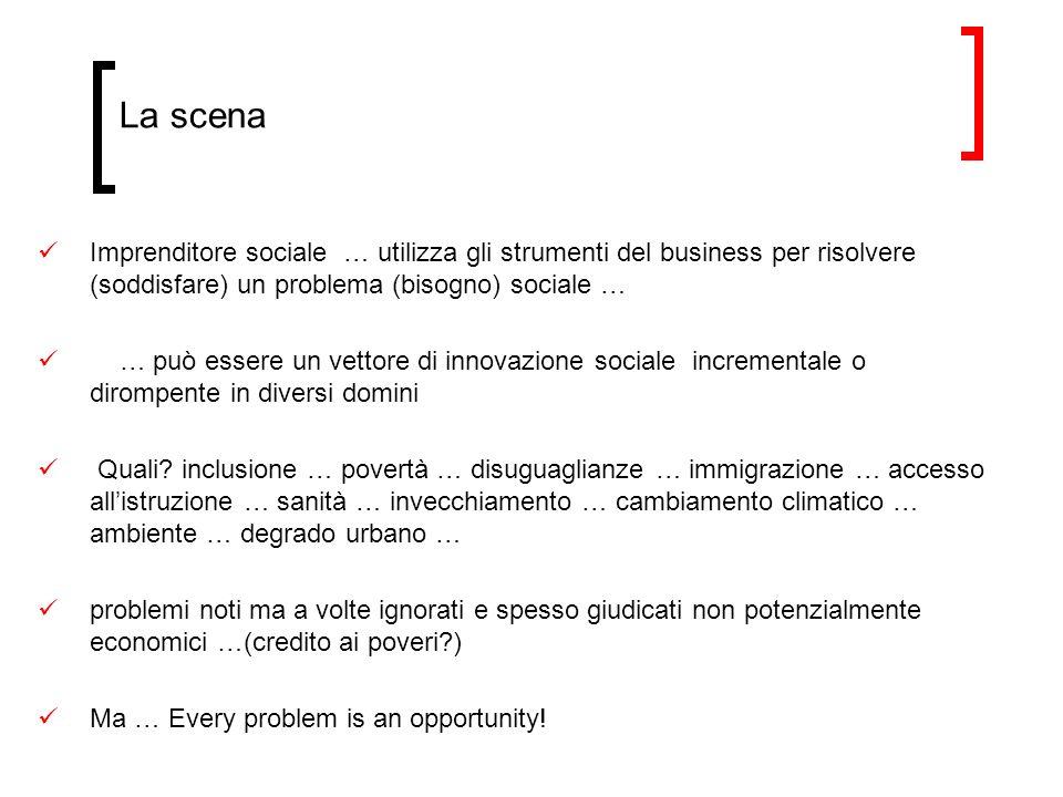 La scena Imprenditore sociale … utilizza gli strumenti del business per risolvere (soddisfare) un problema (bisogno) sociale … … può essere un vettore di innovazione sociale incrementale o dirompente in diversi domini Quali.
