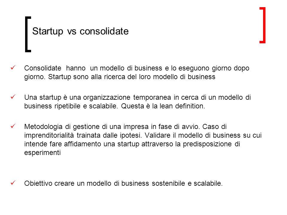 Startup vs consolidate Consolidate hanno un modello di business e lo eseguono giorno dopo giorno. Startup sono alla ricerca del loro modello di busine