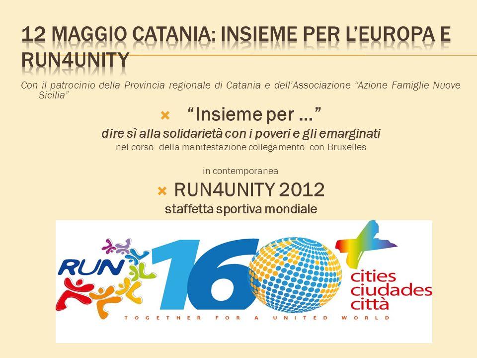 Con il patrocinio della Provincia regionale di Catania e dellAssociazione Azione Famiglie Nuove Sicilia Insieme per … dire sì alla solidarietà con i poveri e gli emarginati nel corso della manifestazione collegamento con Bruxelles in contemporanea RUN4UNITY 2012 staffetta sportiva mondiale