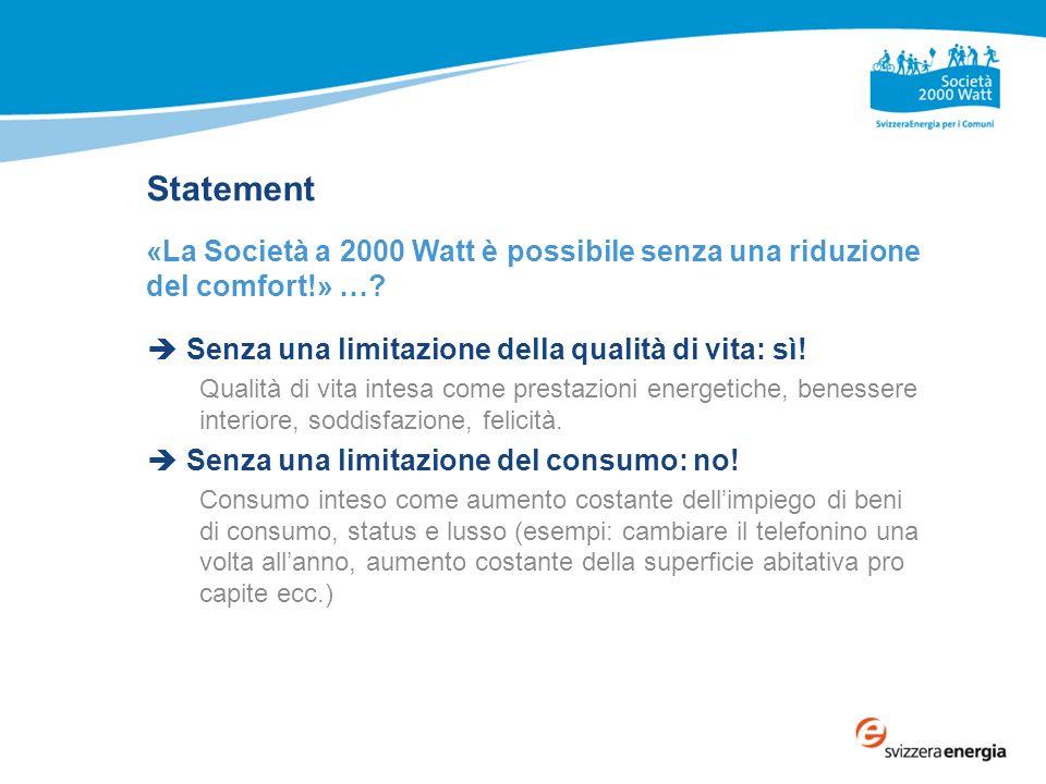 Statement «La Società a 2000 Watt è possibile senza una riduzione del comfort!» ….