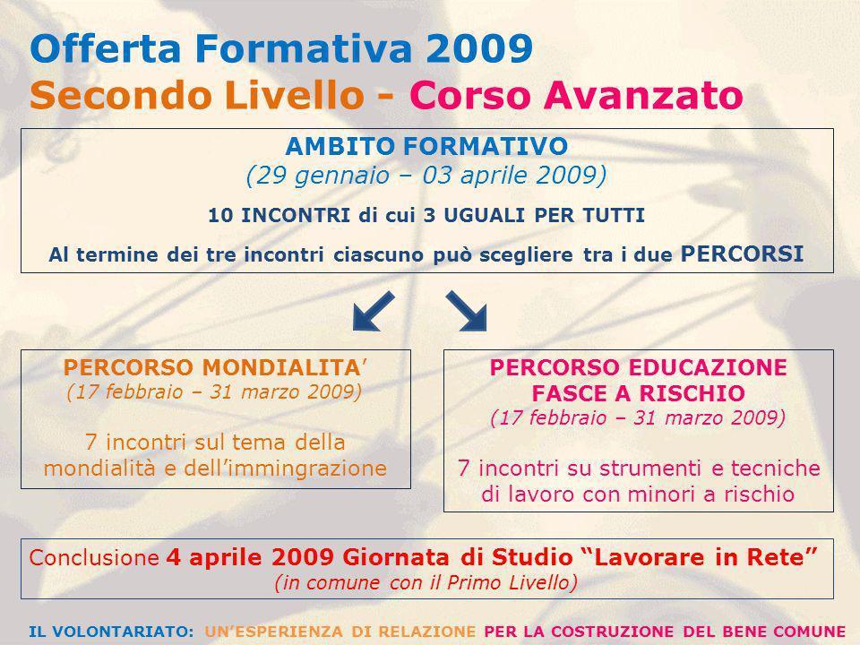 AMBITO ESPERIENZIALE (16 aprile – 24 maggio 2009)) 7 INCONTRI Ciascuno può scegliere il proprio percorso esperienziale tra LABORATORIO DI PROGETTAZIONE SOCIALE (7 aprile – 19 maggio 2009) 7 incontri in cui si affronta concretamente la realizzazione di un progetto di intervento sociale attraverso lacquisizione di strumenti e tecniche specifiche LABORATORIO SULLASCOLTO ATTIVO E LA COMUNICAZIONE EFFICACE (7 aprile – 19 maggio 2009) 7 incontri mirati allacquisizione di tecniche e modalità di approccio comunicativo basate sullascolto attivo e la relazione empatica CIASCUNO PUO SCEGLIERE UNO DEI DUE LABORATORI INDIPENDENTEMENTE DAL PERCORSO SPECIALISTICO SCELTO IN PRECEDENZA IL VOLONTARIATO: UNESPERIENZA DI RELAZIONE PER LA COSTRUZIONE DEL BENE COMUNE