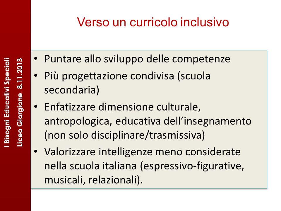 Verso un curricolo inclusivo Puntare allo sviluppo delle competenze Più progettazione condivisa (scuola secondaria) Enfatizzare dimensione culturale,