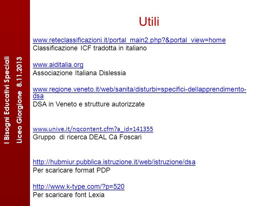 Utili www.reteclassificazioni.it/portal_main2.php?&portal_view=home Classificazione ICF tradotta in italiano www.aiditalia.org Associazione Italiana D
