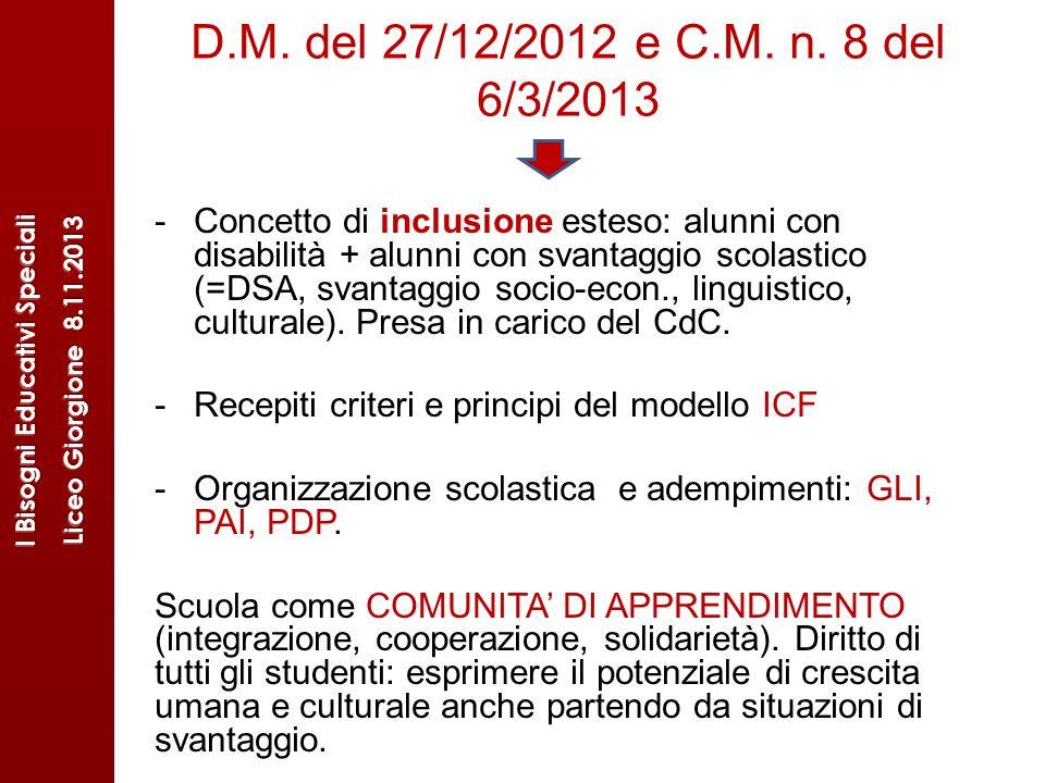 D.M. del 27/12/2012 e C.M. n. 8 del 6/3/2013 -Concetto di inclusione esteso: alunni con disabilità + alunni con svantaggio scolastico (=DSA, svantaggi
