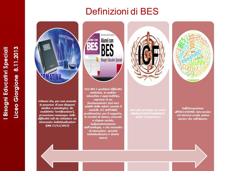 Definizioni di BES «Alunni che, pur non essendo in possesso di una diagnosi medica e psicologica, (la cosiddetta certificazione), presentano comunque