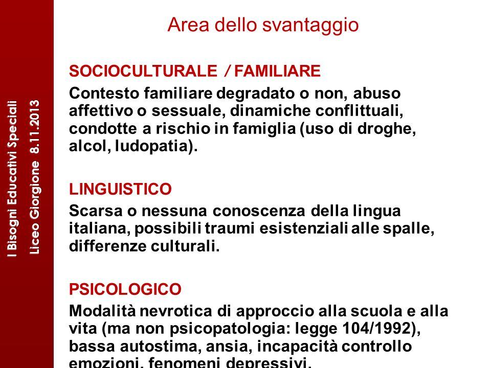 Area dello svantaggio SOCIOCULTURALE / FAMILIARE Contesto familiare degradato o non, abuso affettivo o sessuale, dinamiche conflittuali, condotte a ri