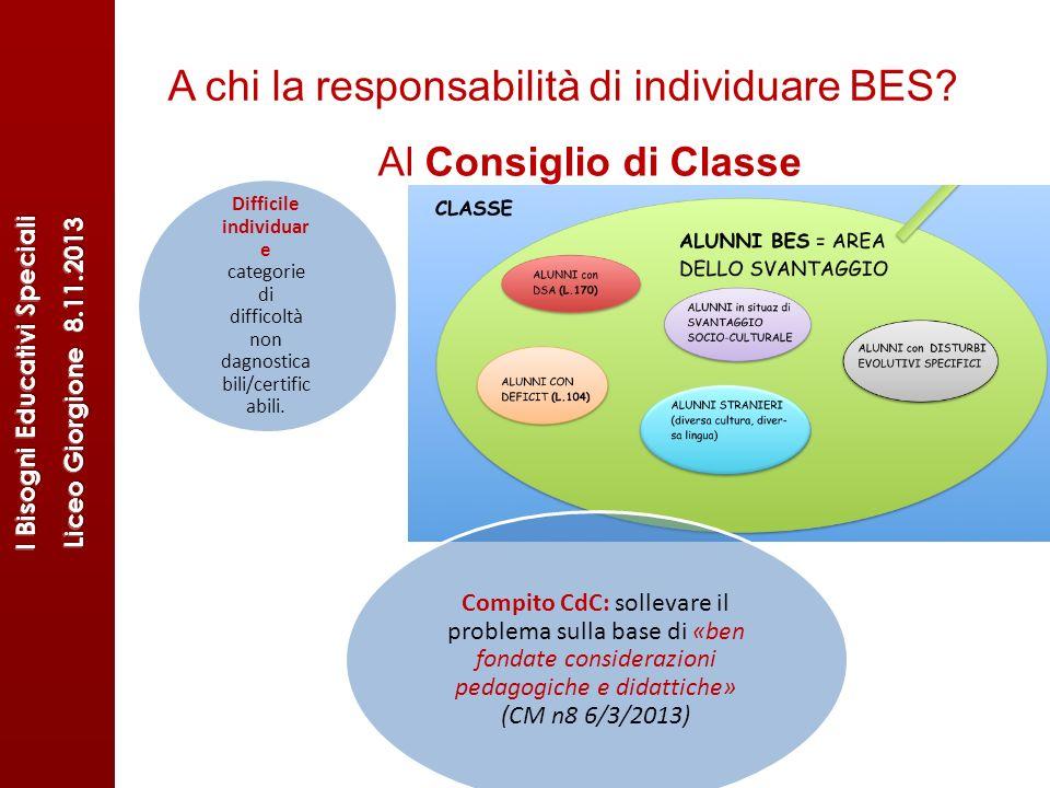 A chi la responsabilità di individuare BES? Difficile individuar e categorie di difficoltà non dagnostica bili/certific abili. Compito CdC: sollevare