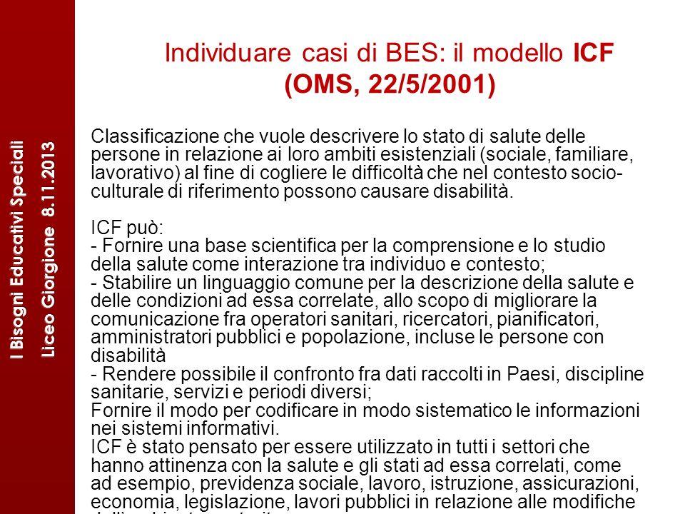 Individuare casi di BES: il modello ICF (OMS, 22/5/2001) Classificazione che vuole descrivere lo stato di salute delle persone in relazione ai loro am