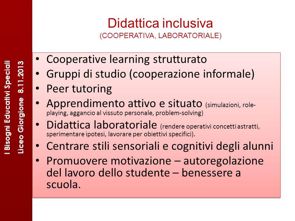 Didattica inclusiva (COOPERATIVA, LABORATORIALE) Cooperative learning strutturato Gruppi di studio (cooperazione informale) Peer tutoring Apprendiment