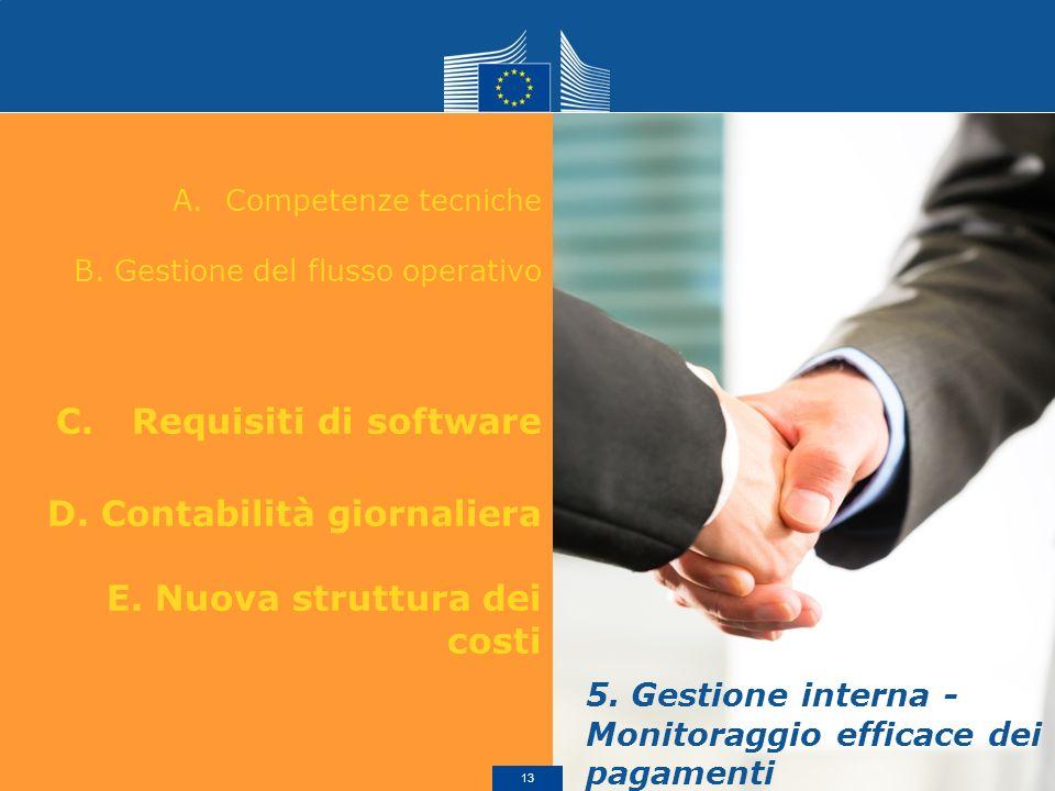 A.Competenze tecniche B. Gestione del flusso operativo C. Requisiti di software D. Contabilità giornaliera E. Nuova struttura dei costi 5. Gestione in