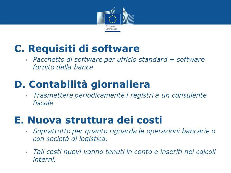 C. Requisiti di software Pacchetto di software per ufficio standard + software fornito dalla banca D. Contabilità giornaliera Trasmettere periodicamen