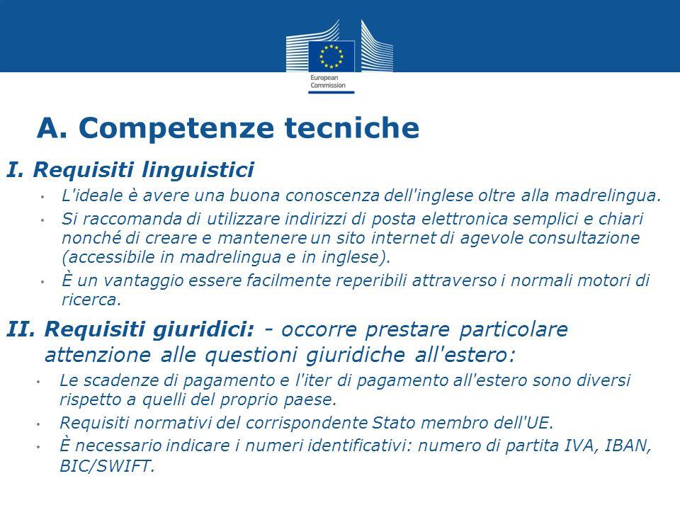 A. Competenze tecniche I. Requisiti linguistici L'ideale è avere una buona conoscenza dell'inglese oltre alla madrelingua. Si raccomanda di utilizzare