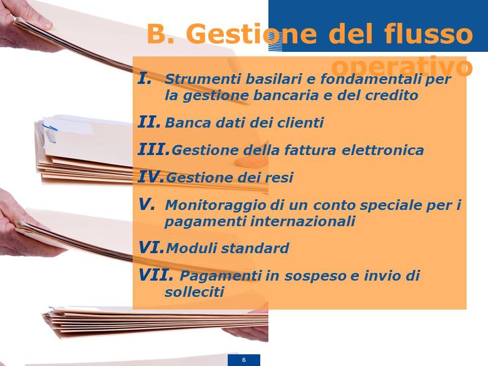 B. Gestione del flusso operativo I. Strumenti basilari e fondamentali per la gestione bancaria e del credito II. Banca dati dei clienti III. Gestione