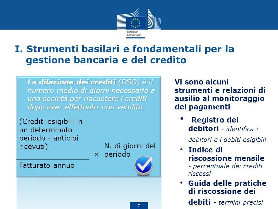 I. Strumenti basilari e fondamentali per la gestione bancaria e del credito Vi sono alcuni strumenti e relazioni di ausilio al monitoraggio dei pagame
