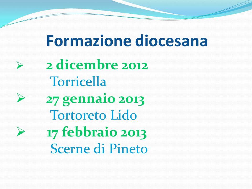 Formazione diocesana 2 dicembre 2012 Torricella 27 gennaio 2013 Tortoreto Lido 17 febbraio 2013 Scerne di Pineto