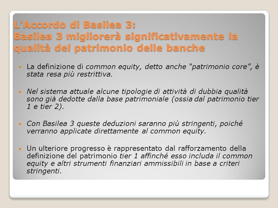 LAccordo di Basilea 3: Basilea 3 migliorerà significativamente la qualità del patrimonio delle banche La definizione di common equity, detto anche patrimonio core, è stata resa più restrittiva.