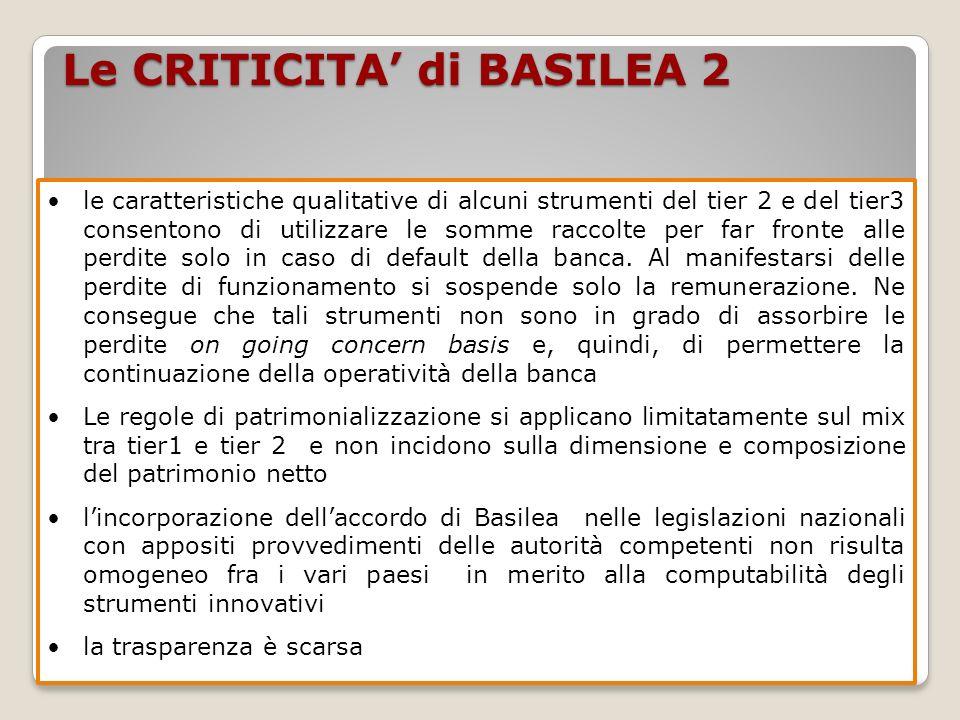 Le CRITICITA di BASILEA 2 le caratteristiche qualitative di alcuni strumenti del tier 2 e del tier3 consentono di utilizzare le somme raccolte per far fronte alle perdite solo in caso di default della banca.