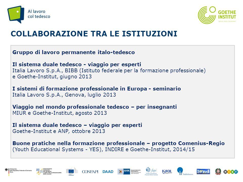 Seite 7 COLLABORAZIONE TRA LE ISTITUZIONI Gruppo di lavoro permanente italo-tedesco Il sistema duale tedesco - viaggio per esperti Italia Lavoro S.p.A