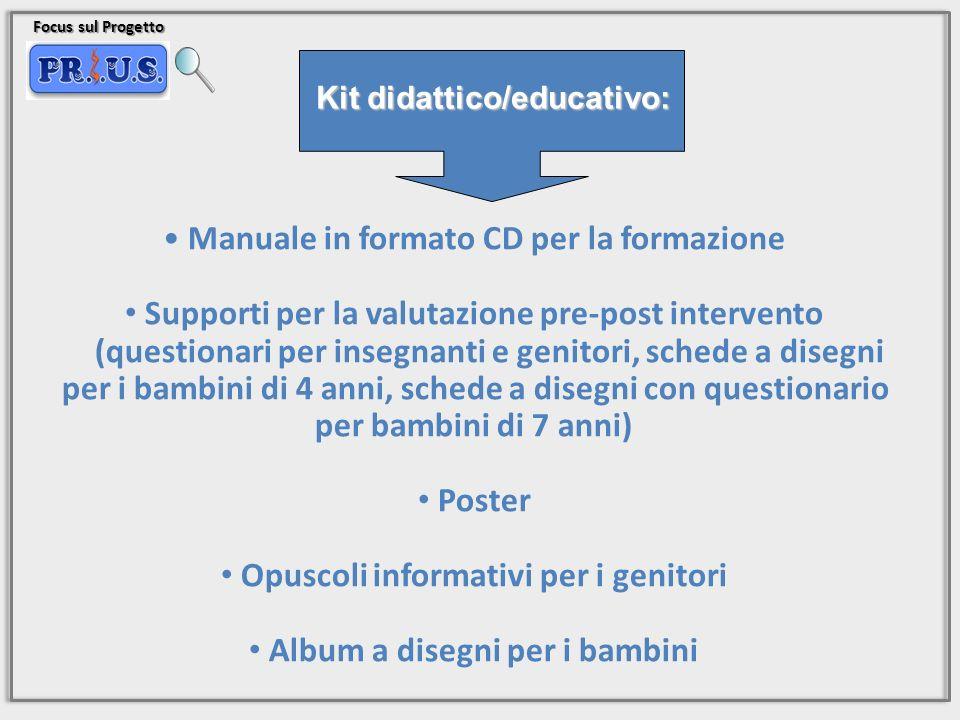 Focus sul Progetto Manuale in formato CD per la formazione Supporti per la valutazione pre-post intervento (questionari per insegnanti e genitori, sch