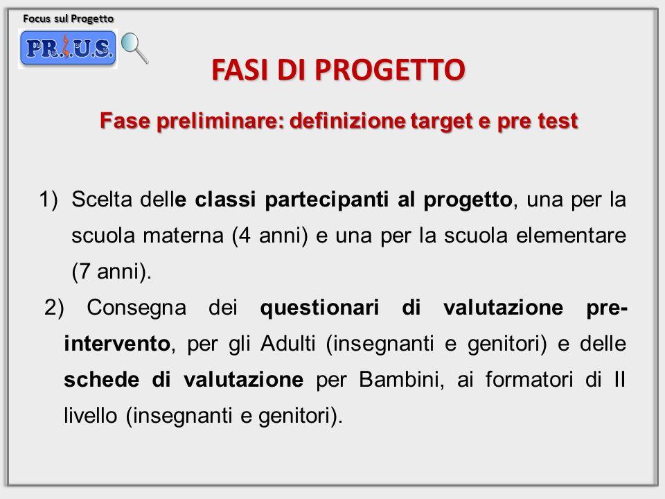 Focus sul Progetto FASI DI PROGETTO 1)Scelta delle classi partecipanti al progetto, una per la scuola materna (4 anni) e una per la scuola elementare (7 anni).