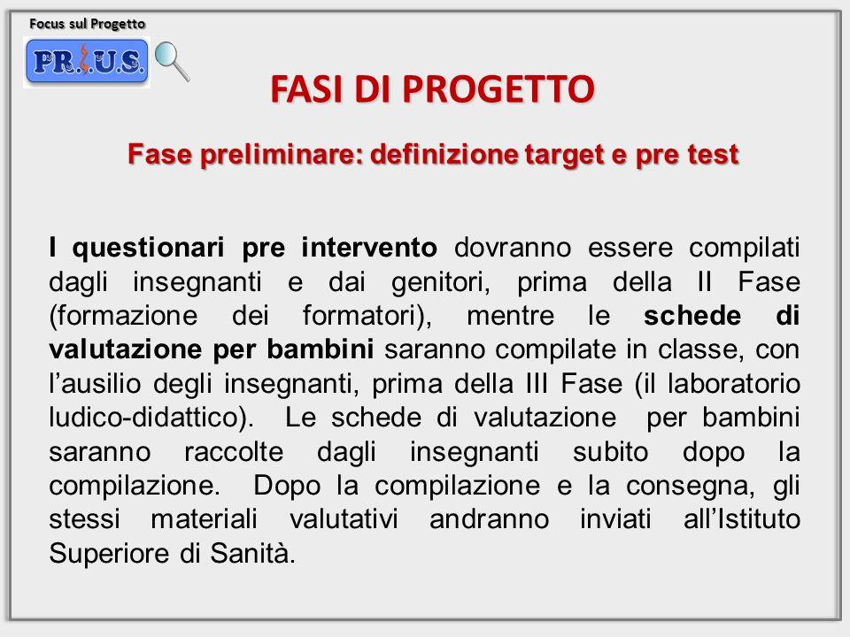 Focus sul Progetto FASI DI PROGETTO I questionari pre intervento dovranno essere compilati dagli insegnanti e dai genitori, prima della II Fase (forma