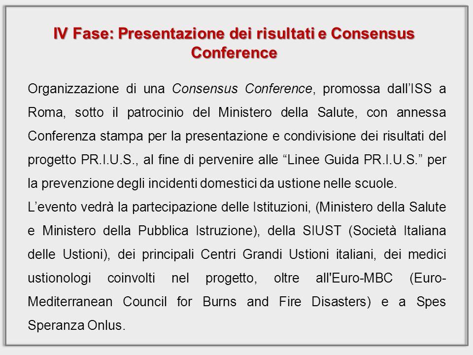 Organizzazione di una Consensus Conference, promossa dallISS a Roma, sotto il patrocinio del Ministero della Salute, con annessa Conferenza stampa per la presentazione e condivisione dei risultati del progetto PR.I.U.S., al fine di pervenire alle Linee Guida PR.I.U.S.