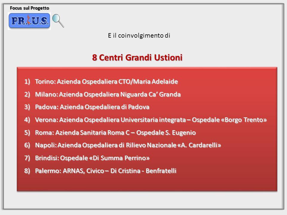 Focus sul Progetto E il coinvolgimento di 8 Centri Grandi Ustioni 1)Torino: Azienda Ospedaliera CTO/Maria Adelaide 2)Milano: Azienda Ospedaliera Nigua