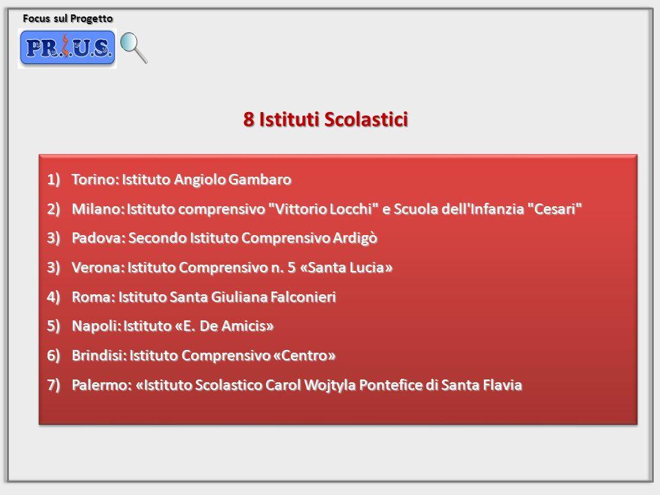 Focus sul Progetto 8 Istituti Scolastici 1)Torino: Istituto Angiolo Gambaro 2)Milano: Istituto comprensivo