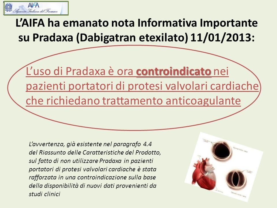 LAIFA ha emanato nota Informativa Importante su Pradaxa (Dabigatran etexilato) 11/01/2013: controindicato Luso di Pradaxa è ora controindicato nei paz