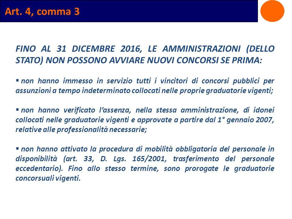 Art. 4, comma 3 FINO AL 31 DICEMBRE 2016, LE AMMINISTRAZIONI (DELLO STATO) NON POSSONO AVVIARE NUOVI CONCORSI SE PRIMA: non hanno immesso in servizio