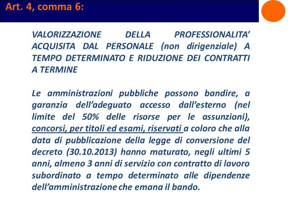 Art. 4, comma 6: VALORIZZAZIONE DELLA PROFESSIONALITA ACQUISITA DAL PERSONALE (non dirigenziale) A TEMPO DETERMINATO E RIDUZIONE DEI CONTRATTI A TERMI