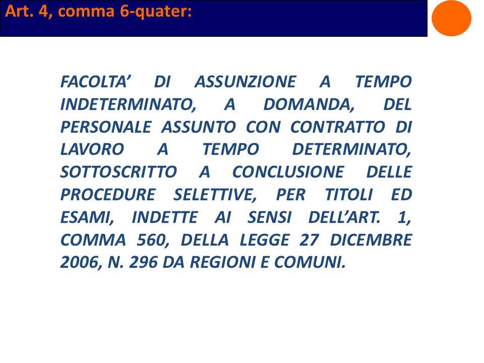 Art. 4, comma 6-quater: FACOLTA DI ASSUNZIONE A TEMPO INDETERMINATO, A DOMANDA, DEL PERSONALE ASSUNTO CON CONTRATTO DI LAVORO A TEMPO DETERMINATO, SOT