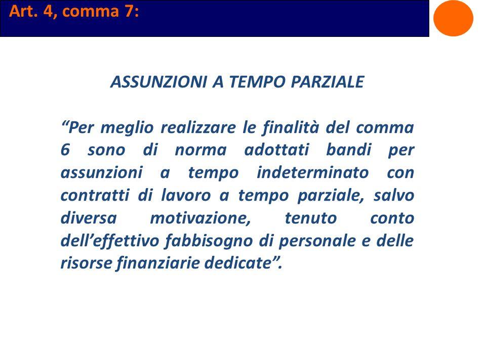 Art. 4, comma 7: ASSUNZIONI A TEMPO PARZIALE Per meglio realizzare le finalità del comma 6 sono di norma adottati bandi per assunzioni a tempo indeter