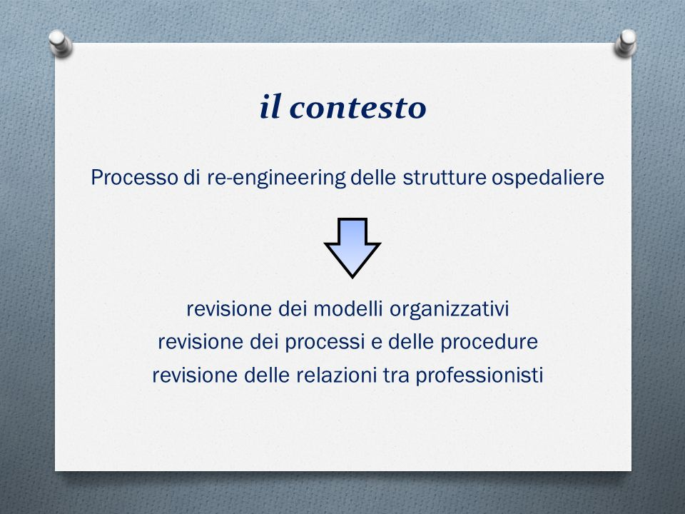il contesto Processo di re-engineering delle strutture ospedaliere revisione dei modelli organizzativi revisione dei processi e delle procedure revisi