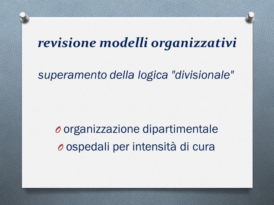 revisione modelli organizzativi O organizzazione dipartimentale O ospedali per intensità di cura superamento della logica