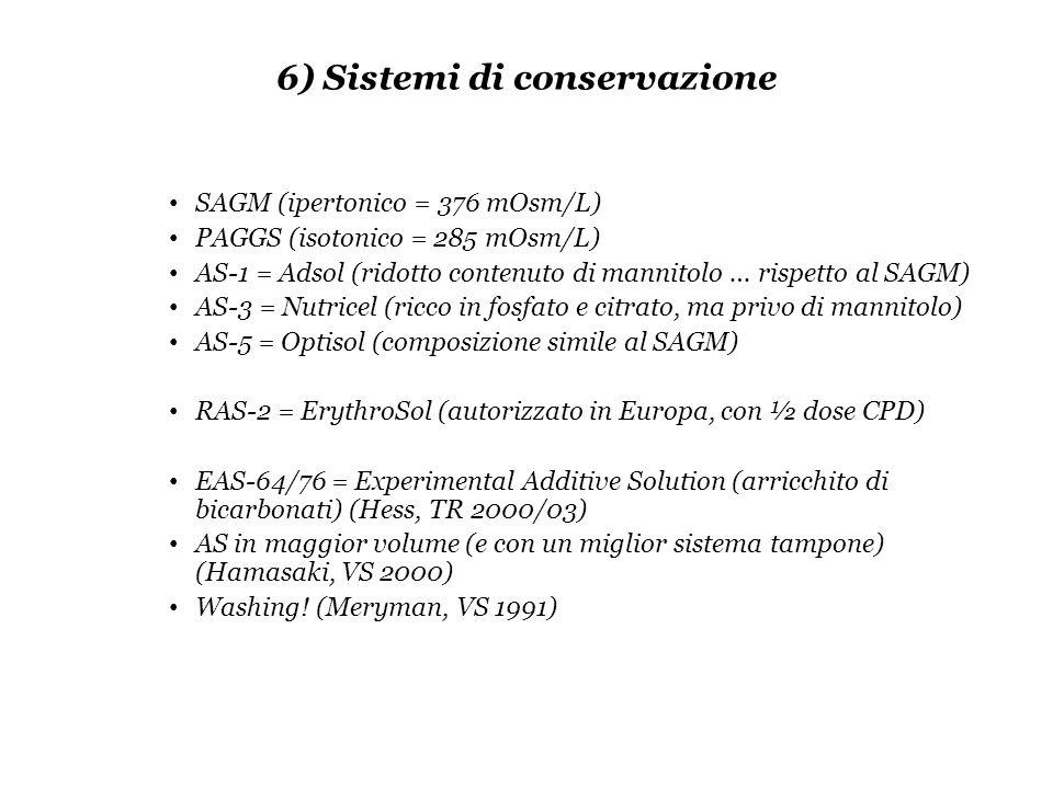 6) Sistemi di conservazione SAGM (ipertonico = 376 mOsm/L) PAGGS (isotonico = 285 mOsm/L) AS-1 = Adsol (ridotto contenuto di mannitolo … rispetto al S