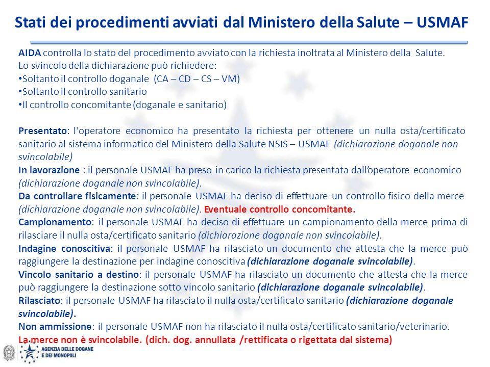 AIDA controlla lo stato del procedimento avviato con la richiesta inoltrata al Ministero della Salute. Lo svincolo della dichiarazione può richiedere: