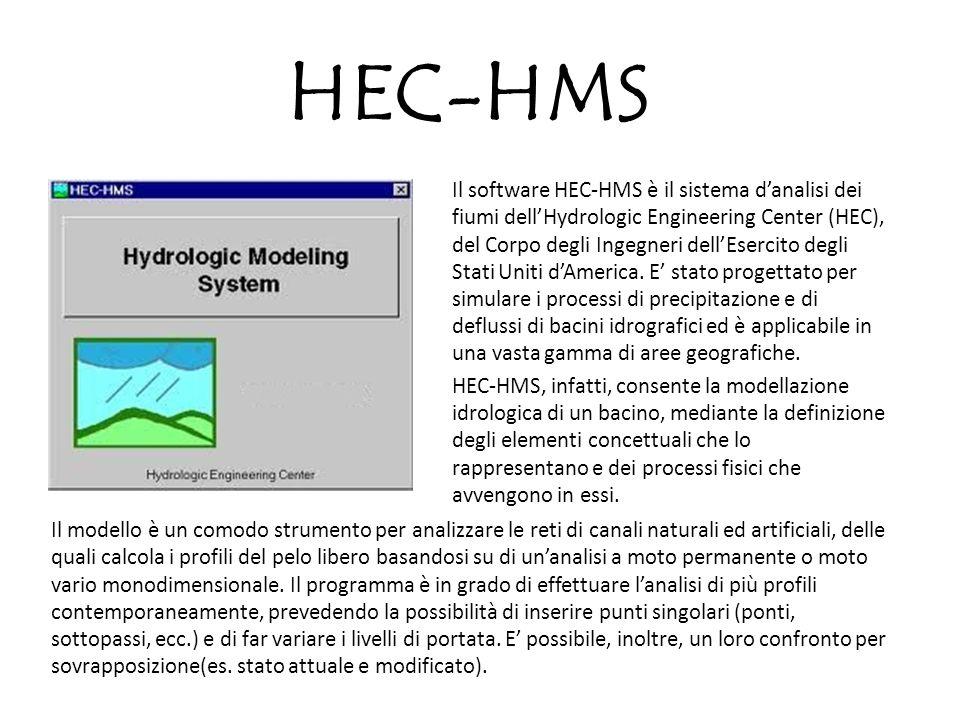 HEC-HMS Il software HEC-HMS è il sistema danalisi dei fiumi dellHydrologic Engineering Center (HEC), del Corpo degli Ingegneri dellEsercito degli Stat