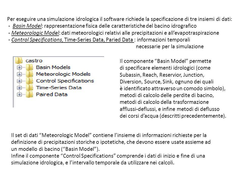 Per eseguire una simulazione idrologica il software richiede la specificazione di tre insiemi di dati: - Basin Model: rappresentazione fisica delle ca