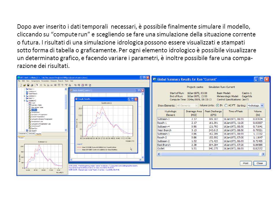Dopo aver inserito i dati temporali necessari, è possibile finalmente simulare il modello, cliccando su compute run e scegliendo se fare una simulazio